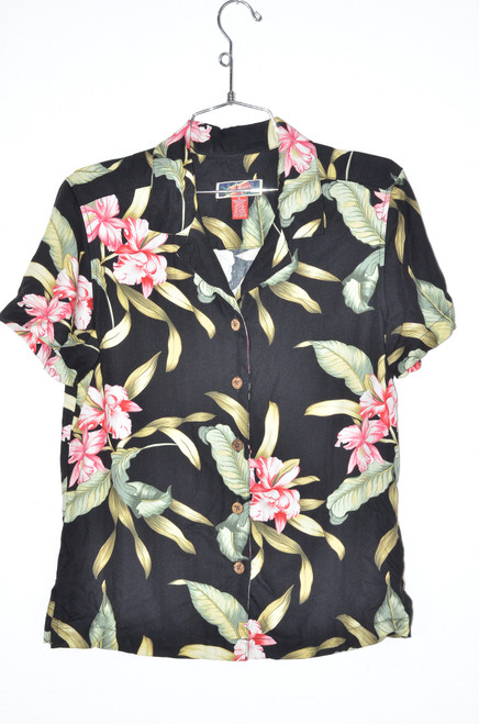 Classic Black & Pink Orchid 100% Rayon Hawaiian Button Up Shirt | 28 Small