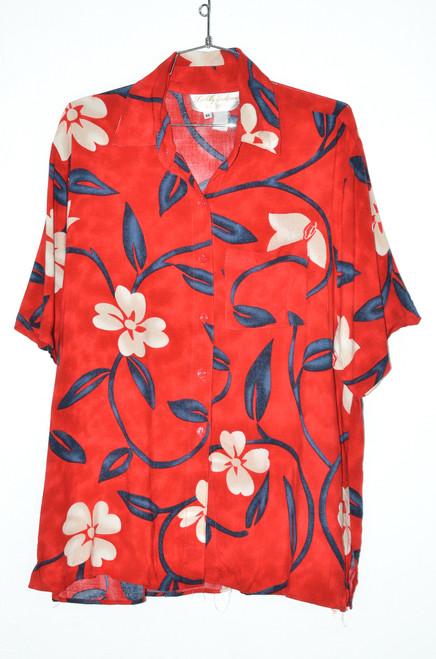 USA Made Three Tone Bubble Orchid Red Hawaiian Shirt   46 XL