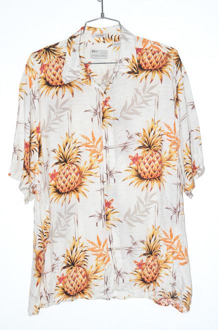 100% Rayon Big Pineapple White Hawaiian Shirt | 52 XXXL