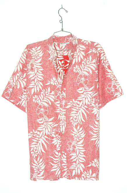 USA Made Red & White Orchid 100% Cotton Hawaiian Shirt |  44/46 L, XL