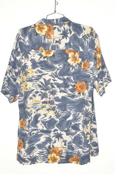 100% Silk Blue Palm & Orchid Hawaiian Shirt | 44 Large