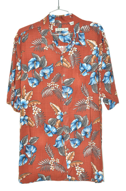 100% Rayon Crimson & Blue Orchid Hawaiian Shirt | 44 Large