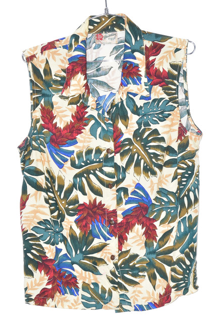 USA Made Sleeveless Leafy Accent Hawaiian Original Shirt | 44 Large