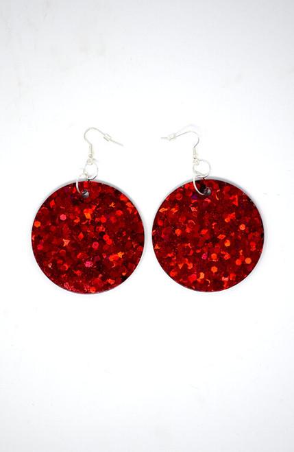 Ruby Disks | Handmade Resin Holograph Diamond Glitter Earrings