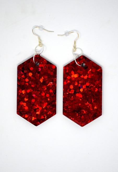 Ruby Diamond   Handmade Resin Holograph Diamond Glitter Earrings