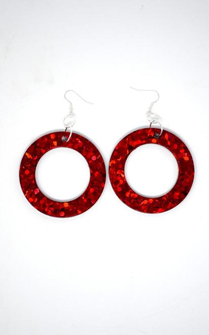 Ruby Donut | Handmade Resin Holograph Glitter Earring