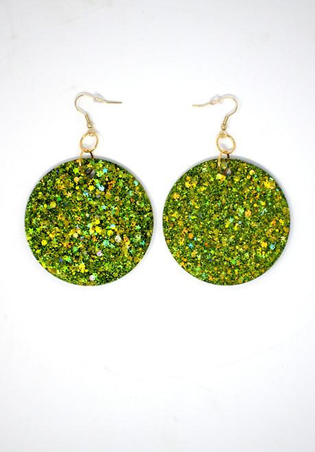 Peridot Disk | Handmade Glitter Earring