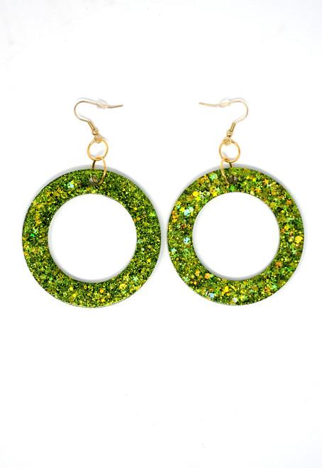 Peridot Donut | Handmade Glitter Earrings