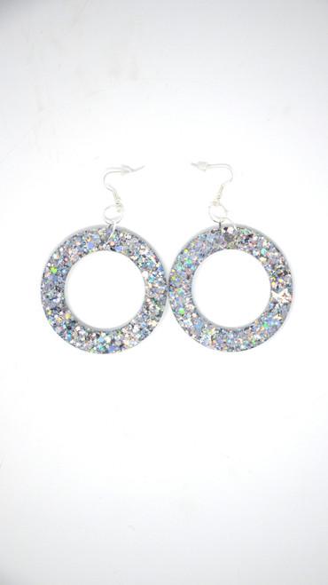 Silver Donut | Handmade Glitter Earrings