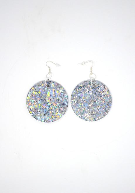 Silver Disk | Handmade Glitter Earrings