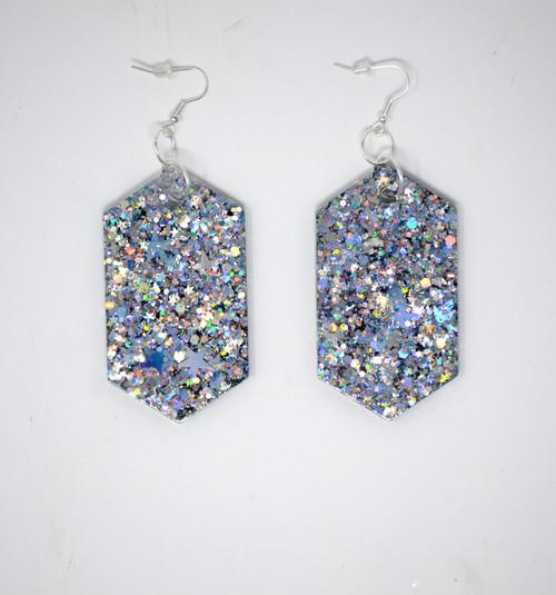 Silver Diamonds   Handmade Glitter Earrings