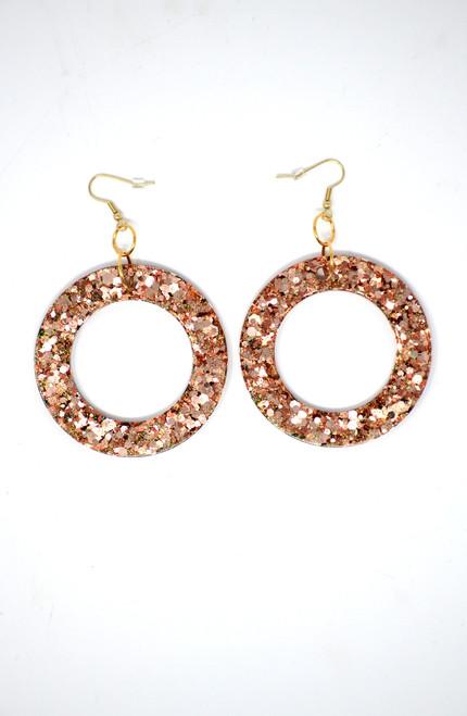 Rose Gold Donut | Handmade Glitter Earrings
