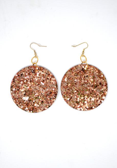 Rose Gold Disk | Handmade Glitter Earrings