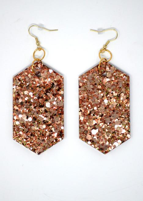 Rose Gold Diamond | Handmade Glitter Earrings