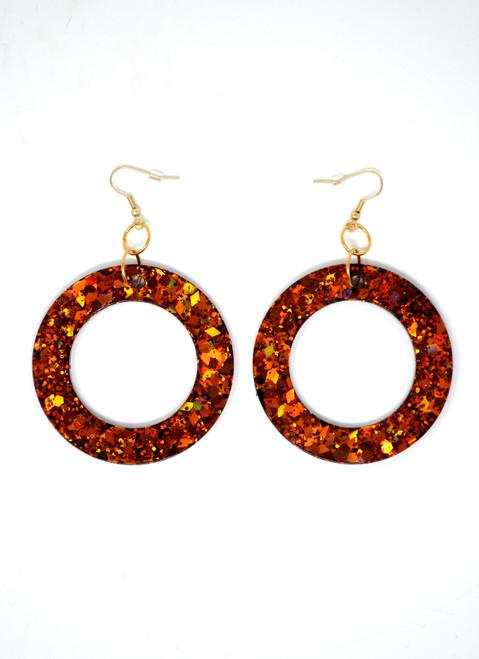 Fire Agate Donut | Handmade Glitter Earrings