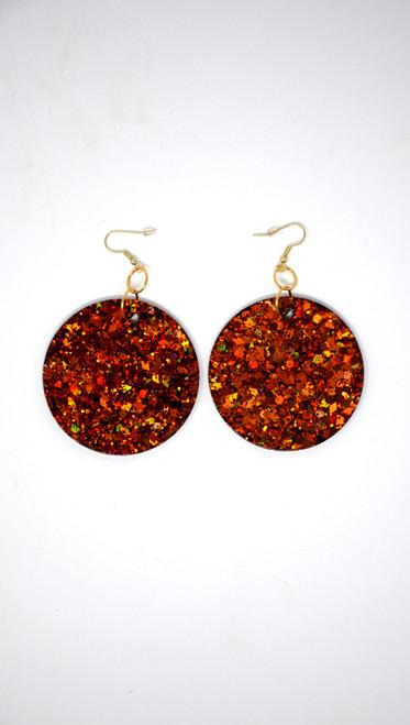 Fire Agate Disk | Handmade Glitter Earrings