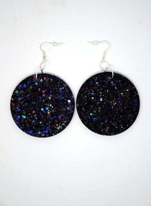 Jet Disk | Handmade Glitter Earrings