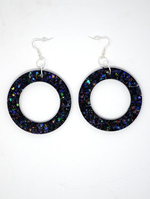 Jet Donut | Handmade Glitter Earrings