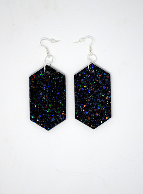 Jet Diamond | Handmade Glitter Earrings