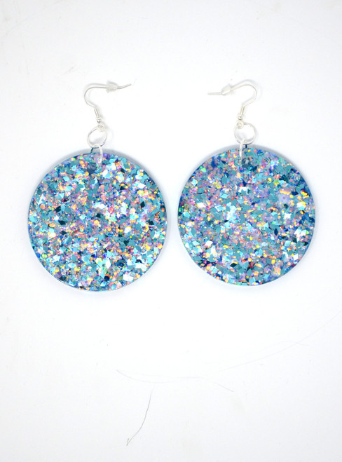 Aquamarine Disk | Handmade Glitter Earrings