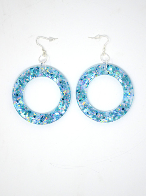 Aquamarine Donut | Handmade Glitter Earrings