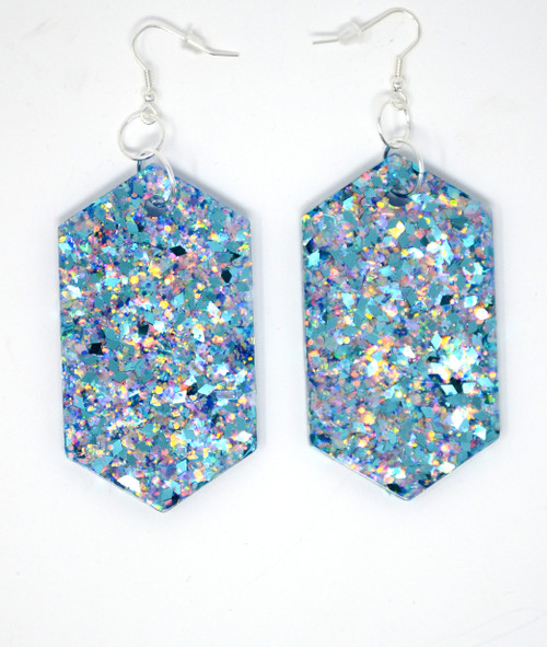 Aquamarine Diamonds | Handmade Glitter Earrings