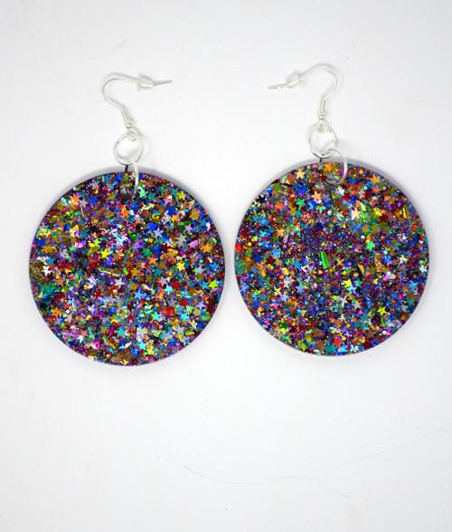 Mystic Topaz Disks | Handmade Glitter Earrings