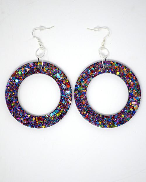 Mystic Topaz Donuts| Handmade Glitter Earrings