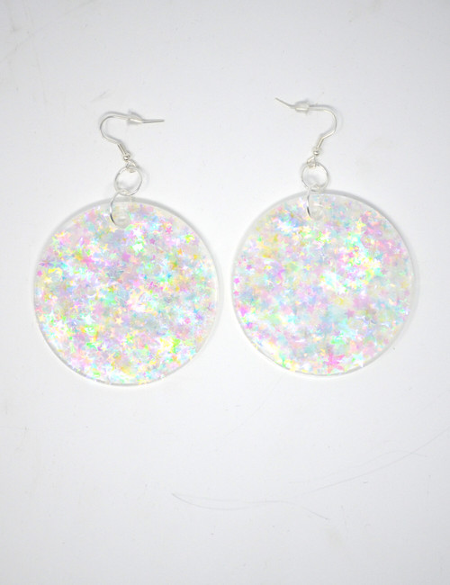 Clear Quartz Disk | Handmade Glitter Earrings