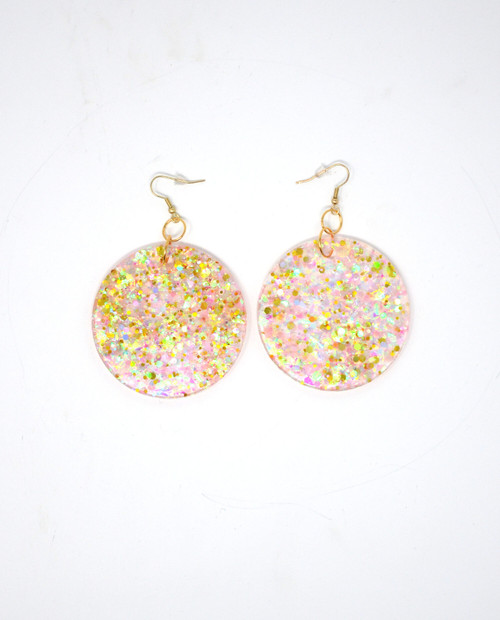 Pink Opal Disks | Handmade Glitter Earrings