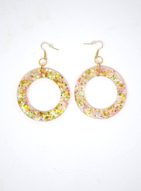 Pink Opal Donuts | Handmade Glitter Earrings