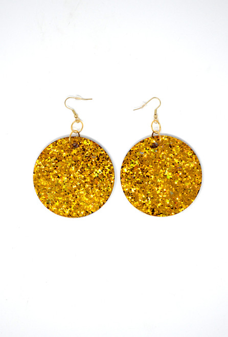 Gold Disk | Handmade Glitter Earrings