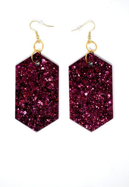 Garnet Diamonds   Handmade Glitter Earrings