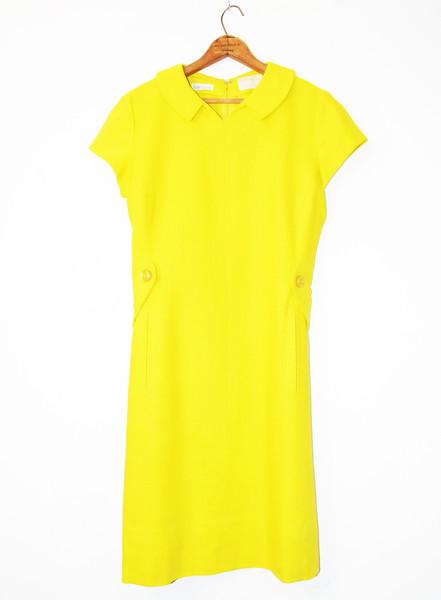 Lemon Yellow Linen 1960's Dress