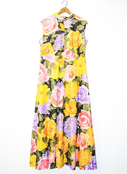 1970's Sleeveless Glitter Floral Maxi Dress