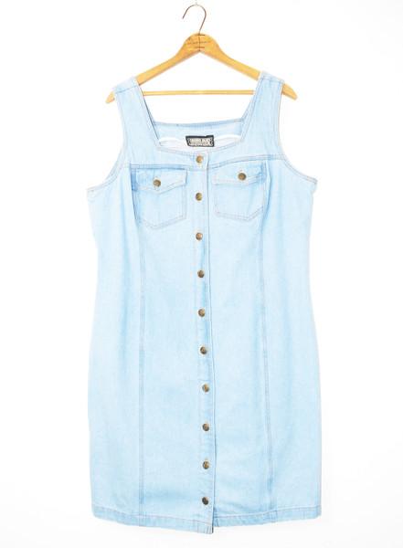 1990's Denim Button-Up Knee-Length Dress