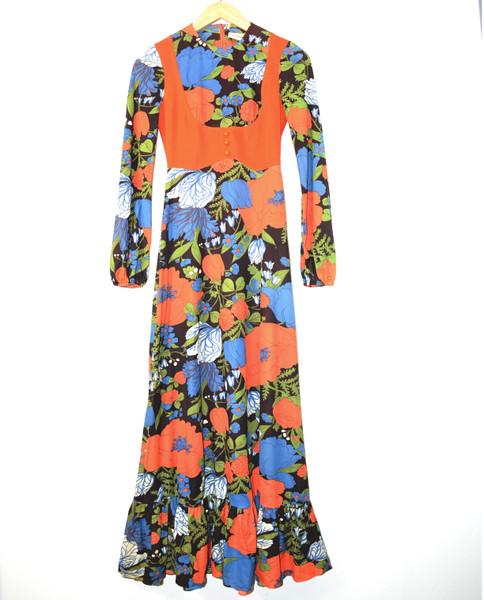 1970's Patricia Fair Long Sleeve Maxi Dress