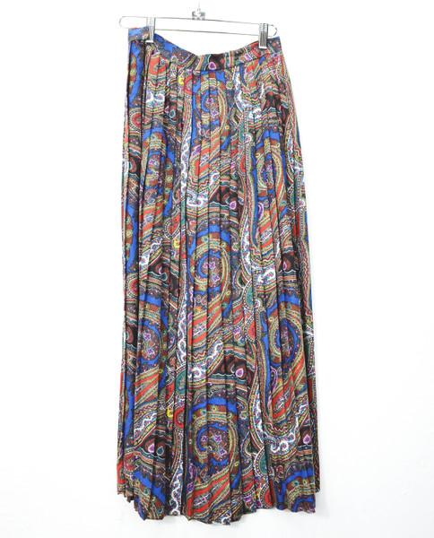 Pleated Paisley Maxi Skirt