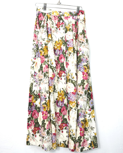 Pleated Linen Floral Skirt