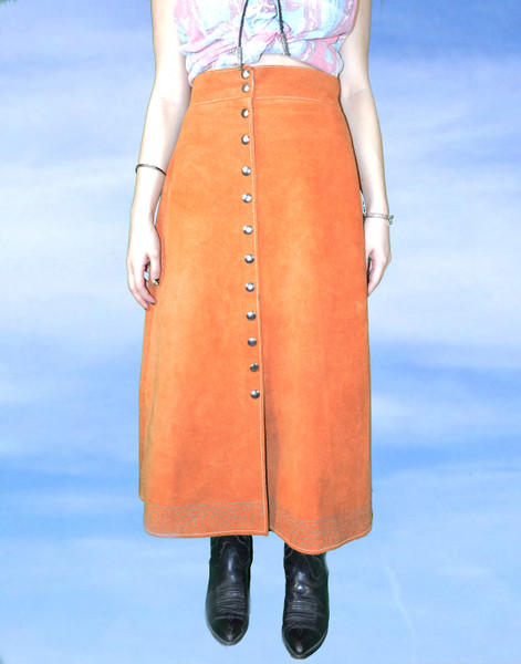 Snap Button Suede Midi Skirt