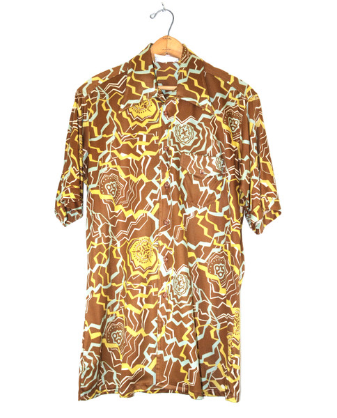 Poly Blend Short Sleeve Patterned Button Up
