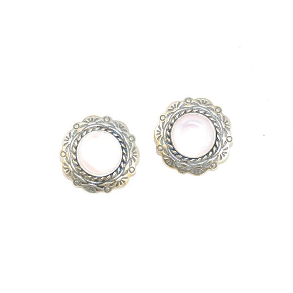 Sterling Silver Pink Abalone Stud Earrings