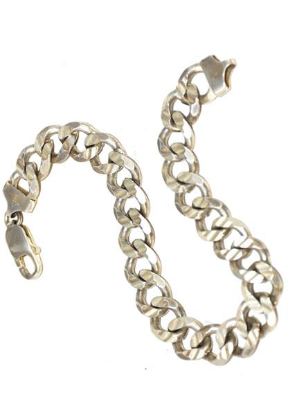 Sterling Silver Cuban Link Flat Chain Bracelet