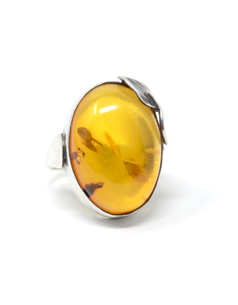 Vintage Danish Amber Asymmetrical Style Sterling Silver Set Ring Size 7