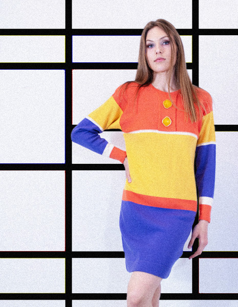 1960's Mod Sweater Dress with Oversized Resin Buttons