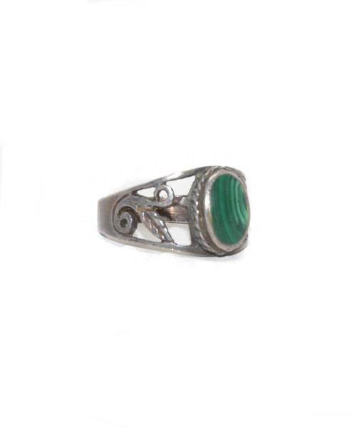 Vintage Sterling Silver Malachite Spiral Ring