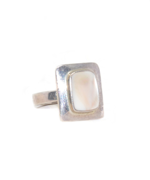 Sterling Silver Framed Mother of Pearl Ring