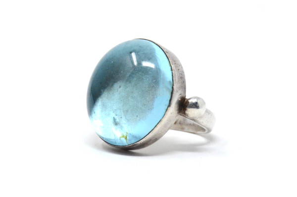 Aqua Glass Cabochon Ring