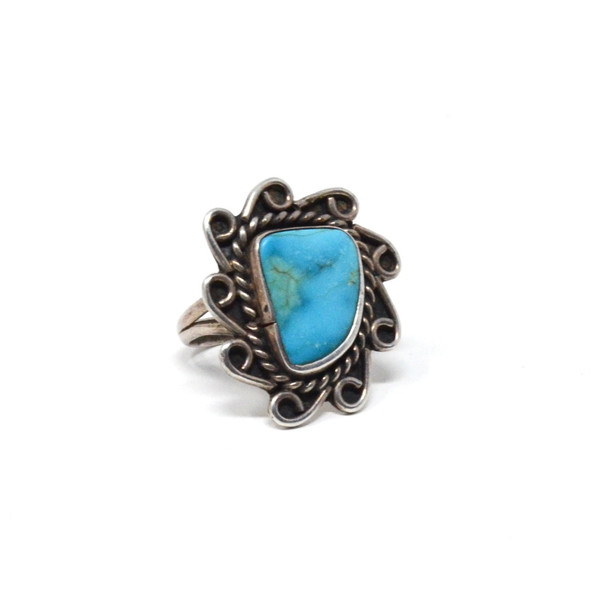 Vintage Sterling Silver Navajo Spiderweb Turquoise Asymmetrical Feather Set Ring Size 8