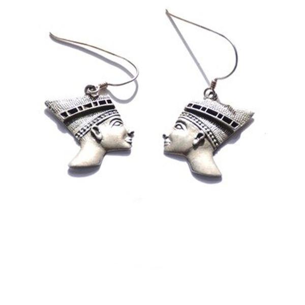 Vintage Sterling Silver Egyptian Royalty Dangle Earrings